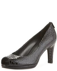 Zapatos de tacón de cuero con print de serpiente negros