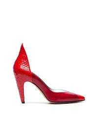 Zapatos de tacón de cuero con print de serpiente rojos de Givenchy