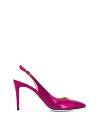 Zapatos de tacón de cuero con print de serpiente rosa de Pollini