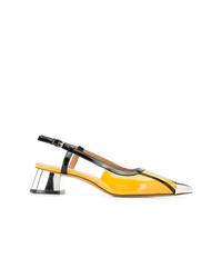 Zapatos de tacón de cuero con recorte amarillos de Marni
