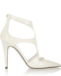 Zapatos de Tacón de Cuero con Recorte Blancos