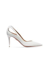Zapatos de tacón de cuero con recorte blancos de Aquazzura