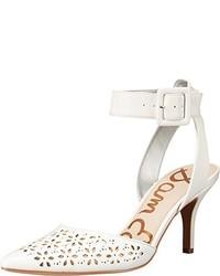 Zapatos de tacón de cuero con recorte blancos de Sam Edelman
