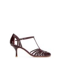 Zapatos de tacón de cuero con recorte burdeos de Sarah Chofakian