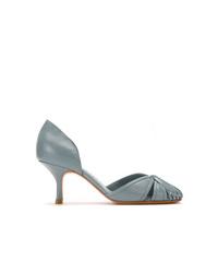 Zapatos de tacón de cuero con recorte celestes de Sarah Chofakian