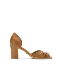 Zapatos de tacón de cuero con recorte marrónes de Sarah Chofakian