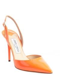 Zapatos de tacón de cuero con recorte naranjas