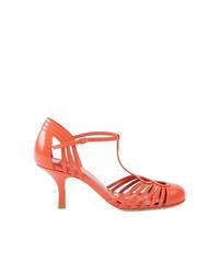 Zapatos de Tacón de Cuero con Recorte Naranjas de Sarah Chofakian