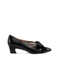 Zapatos de tacón de cuero con recorte negros de Gucci