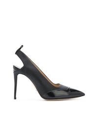 Zapatos de tacón de cuero con recorte negros de Paul Andrew