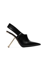 Zapatos de tacón de cuero con recorte negros de Poiret