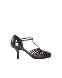 Zapatos de tacón de cuero con recorte negros de Sarah Chofakian