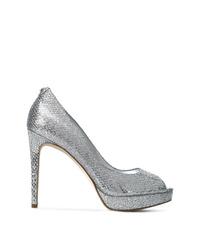 Zapatos de tacón de cuero con recorte plateados de MICHAEL Michael Kors