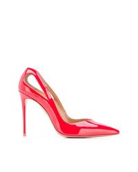 Zapatos de tacón de cuero con recorte rojos de Aquazzura