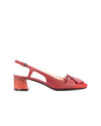 Zapatos de tacón de cuero con recorte rojos de Bottega Veneta