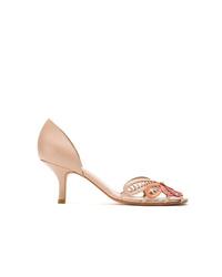 Zapatos de tacón de cuero con recorte rosados de Sarah Chofakian