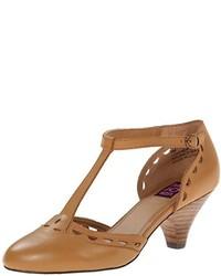 Zapatos de Tacón de Cuero con Recorte Tabaco de Mojo Moxy