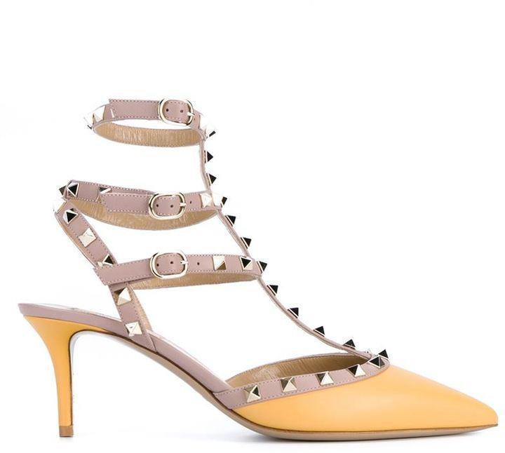 Con ValentinoMex Tachuelas Zapatos Cuero De Tacón Amarillos l1JcF3TK
