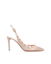 Zapatos de tacón de cuero con tachuelas dorados de Valentino
