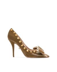 Zapatos de tacón de cuero con tachuelas mostaza de Fausto Puglisi