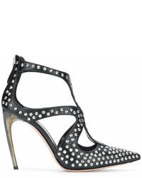 Zapatos de Tacón de Cuero con Tachuelas Negros de Alexander McQueen