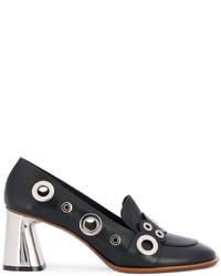 Zapatos de Tacón de Cuero con Tachuelas Negros de Premiata