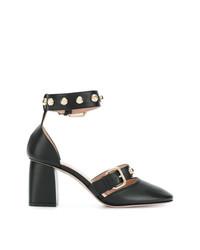 Zapatos de Tacón de Cuero con Tachuelas Negros de RED Valentino