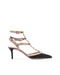 Zapatos de tacón de cuero con tachuelas negros de Valentino