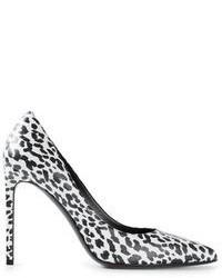 Zapatos de tacón de cuero de leopardo blancos de Saint Laurent