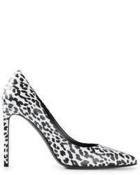 Zapatos de tacón de cuero de leopardo en blanco y negro de Saint Laurent