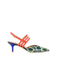 Zapatos de tacón de cuero de leopardo en multicolor de Malone Souliers