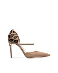 Zapatos de tacón de cuero de leopardo marrónes de Jennifer Chamandi