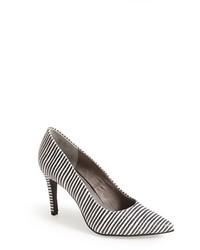 Zapatos de tacón de cuero de rayas horizontales en blanco y negro