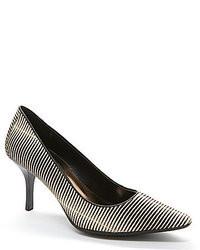 Zapatos de Tacón de Cuero de Rayas Horizontales Negros y Blancos
