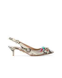 Zapatos de Tacón de Cuero de Serpiente Grises de Aquazzura