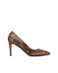 Zapatos de Tacón de Cuero de Serpiente Marrónes de Silvano Lattanzi
