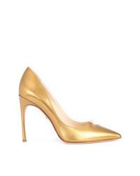 Zapatos de Tacón de Cuero Dorados