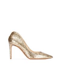 Zapatos de tacón de cuero dorados de Alexander McQueen