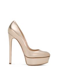 Zapatos de Tacón de Cuero Dorados de Casadei