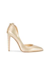 Zapatos de Tacón de Cuero Dorados de Chloe Gosselin