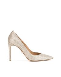 Zapatos de tacón de cuero dorados de Dsquared2