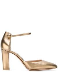 Zapatos de Tacón de Cuero Dorados de Gianvito Rossi