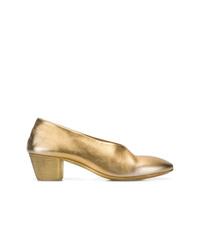Zapatos de tacón de cuero dorados de Marsèll