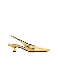 Zapatos de tacón de cuero dorados de MM6 MAISON MARGIELA