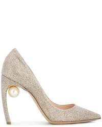 Zapatos de Tacón de Cuero Dorados de Nicholas Kirkwood