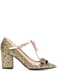 Zapatos de Tacón de Cuero Dorados de No.21