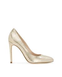 Zapatos de tacón de cuero dorados de Twin-Set