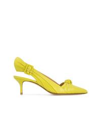 Zapatos de tacón de cuero en amarillo verdoso de Francesco Russo