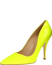Zapatos de tacón de cuero en amarillo verdoso de kate spade new york