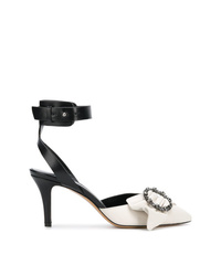 Zapatos de tacón de cuero en blanco y negro de Isabel Marant